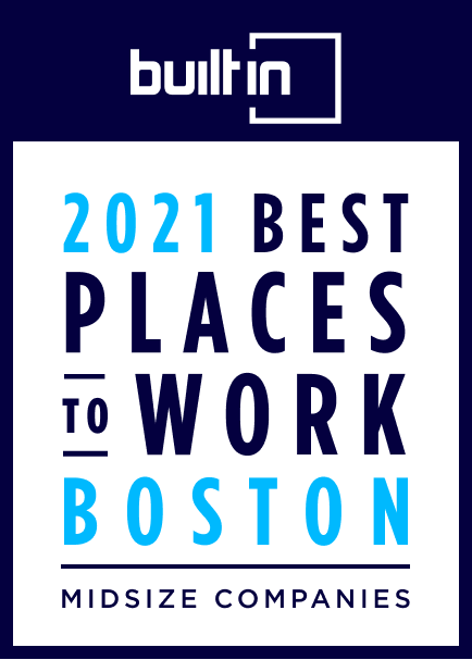 Award badge for 2021 Best Places to Work Boston with text in blue.